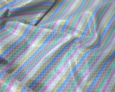 Stripe Floral Bling Bling Metallic Brocade Fabric - Rainbow