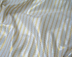 Stripe Floral Bling Bling Metallic Brocade Fabric - Gold & Silver