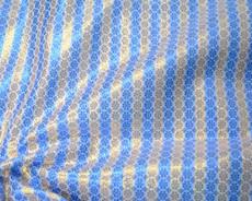 Stripe Floral Bling Bling Metallic Brocade Fabric - Blue & Gold