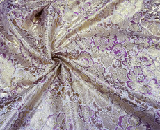 Floral Pink Gold Metallic Brocade Fabric