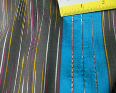 BROWN & AQUA STRIPES TIED STRING 100% AUTH Silk Fabric 24mm.
