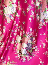 "Bouquet Flower Faux Silk Satin Fabric 44""W - Hot Pink"
