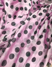 "PINK SHOT WHITE CHIFFON BLACK POLKA DOT 60""W FABRIC"