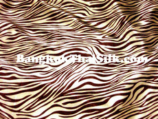"Zebra Gold & Brown Animal Print Satin Fabric 48""W"