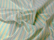 Stripe Floral Bling Bling Metallic Brocade Fabric - Emerald & Gold