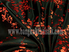 Black & Red Silk Shantung Cherry Blossom Brocade