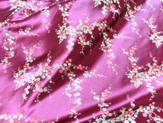 Fuchsia Pink & Gold Silk Shantung Cherry Blossom Brocade