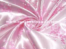 Baby Pink & Pink Silk Shantung Cherry Blossom Brocade