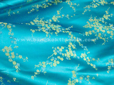 Turquoise & Gold Silk Shantung Cherry Blossom Brocade