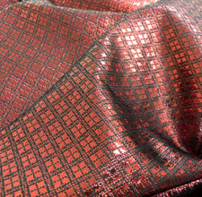 Diamond Bling Bling Metallic Brocade Fabric - Red & Black
