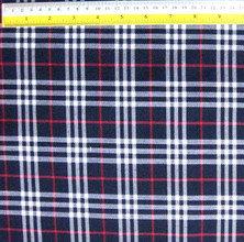 "Plaid Tartan Woven Cotton Fabric 44""W - Dark Blue Black White"