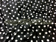 "BLACK CHIFFON WHITE POLKA DOT 60""W FABRIC"