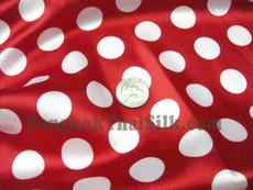 "Polka Dot Satin 48""W Fabric - Red & White"