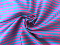 Blue Turquoise & Pink Pin Stripe 100% AUTH Silk Fabric