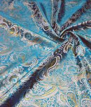 Paisley Metallic Brocade Fabric - Turquoise & Gold