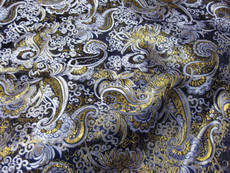Paisley Metallic Brocade Fabric - Black & Gold