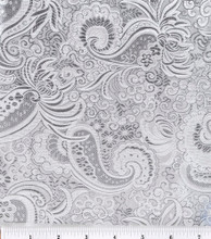 Paisley Metallic Brocade Fabric - White & Silver