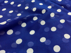 "Royal Blue Chiffon White Polka Dot 60""W Fabric"