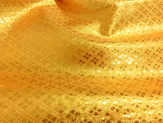 Diamond Bling Bling Metallic Brocade Fabric - Yellow Gold