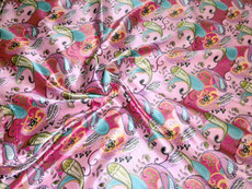 """Paisley Faux Silk Satin 48""""W Fabric - Pink & Colors"""