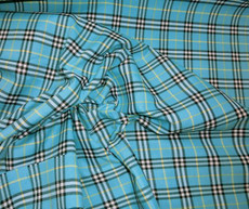 "Plaid Tartan Woven Cotton Fabric 44""W - Turquoise Blue White Black"