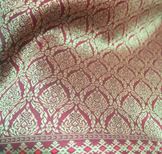 "Thai Silk Damask 40""W Fabric - Dark Red & Gold"