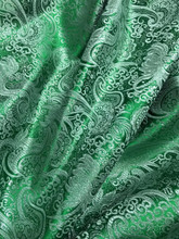 Paisley Metallic Brocade Fabric - Emerald & Silver