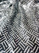 Stripe Sequin Fabric - Black & Silver