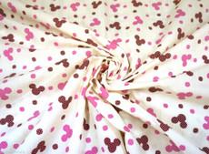 Mickey Mouse Polka Dot Poly Cotton - Cream Pink