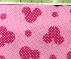 Mickey Mouse Polka dot on Pink Poly Cotton - Red