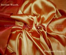 Heavy Silky Dupioni with Satin Back Fabric - Orange Firefly