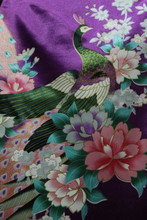 "Peacock Faux Silk Satin Fabric 44""W - Purple"