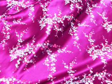 Hot Pink & Silver Silk Shantung Cherry Blossom Brocade Fabric