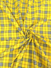 "Plaid Tartan Print Cotton Blend Fabric 44""W - Yellow Black White Red"