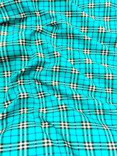"Plaid Tartan Print Cotton Blend Fabric 44""W - Turquoise"