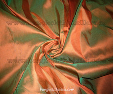 100% Authentic Silk Fabric - Russet Orange Shot Green