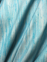 Reeded Stripe Dupioni 100% Auth Silk Fabric - Turquoise  Ivory Silver Gray