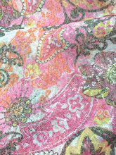 Sequin Paisley Fabric - Pink