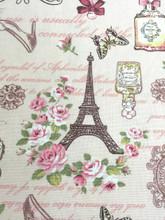 """Paris Rosette Print 100% Cotton Fabric 44""""W - Cream"""