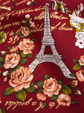 "Paris Rosette Print 100% Cotton Fabric 44""W - Burgundy Red"