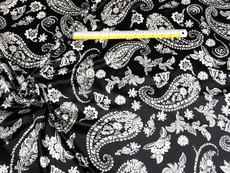 "Paisley Black-Ivory Faux Silk Satin 48""W Fabric"