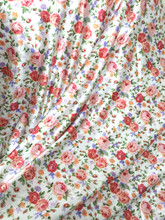 "Floral Ivory-Orange-Lavender Faux Silk Satin 48""W Fabric"