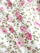 "Floral Ivory-Pinks Faux Silk Satin 48""W Fabric"