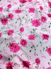 "Floral White Satin Pink Roses Faux Silk Satin 48""W Fabric"