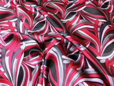 "Neo Palm Burgundy-Gray-Black Faux Silk Satin 48""W Fabric"