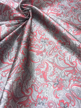 "Paisley Print Viscose Fabric 60""W - Dark Red & Gray"