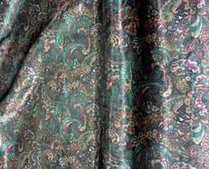 "Paisley Print Viscose Fabric 60""W - Green Red Gold"