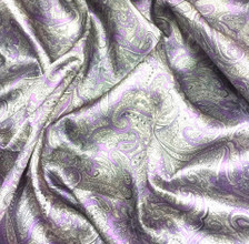 "Paisley Print Viscose Fabric 60""W - Gray Purple"