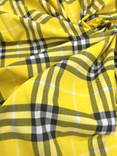 "Plaid Tartan Print Cotton Blend Fabric 44""W - Yellow Black White"