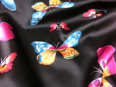 "Pink Blue Black Butterfly Soft & Smooth Satin Fabric Material 50""W BTY"